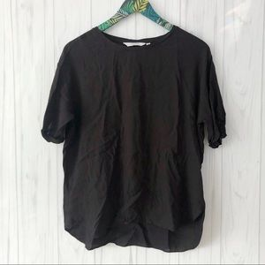 & Other Stories Short Sleeve Viscose Black Top